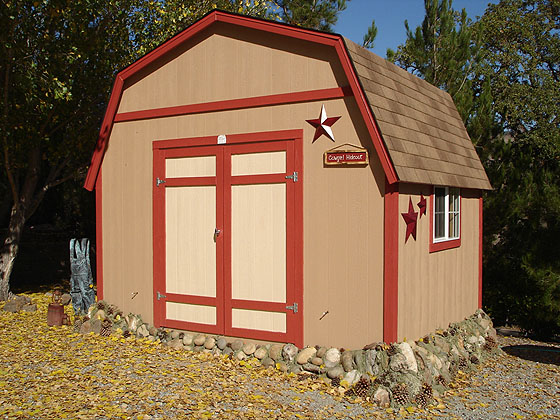California custom sheds 12x10 tall gambrel roof for Garden shed 12x10
